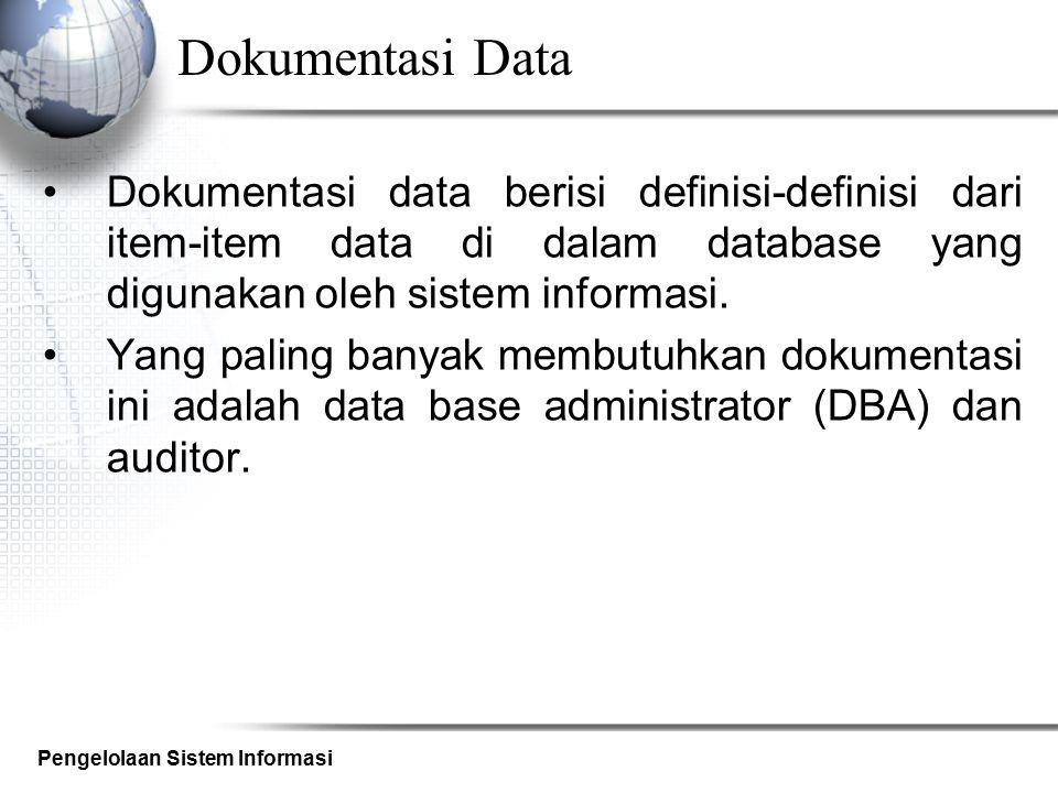Dokumentasi Data Dokumentasi data berisi definisi-definisi dari item-item data di dalam database yang digunakan oleh sistem informasi.