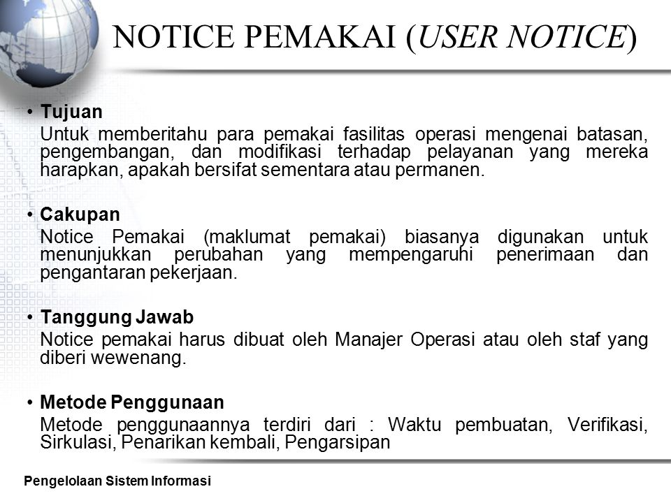 NOTICE PEMAKAI (USER NOTICE)