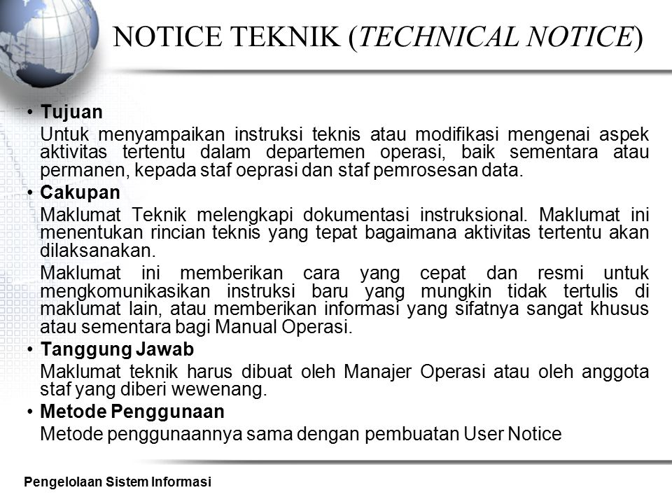 NOTICE TEKNIK (TECHNICAL NOTICE)