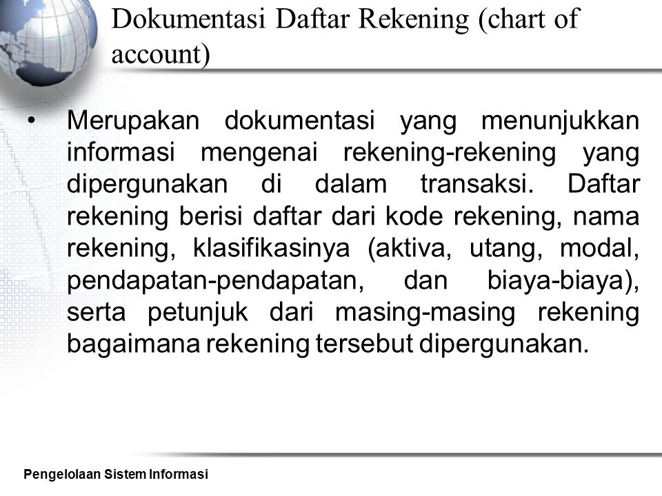 Dokumentasi Daftar Rekening (chart of account)