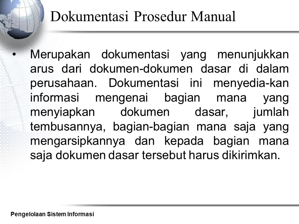 Dokumentasi Prosedur Manual