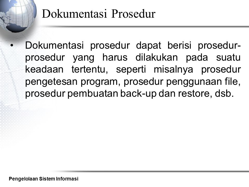 Dokumentasi Prosedur