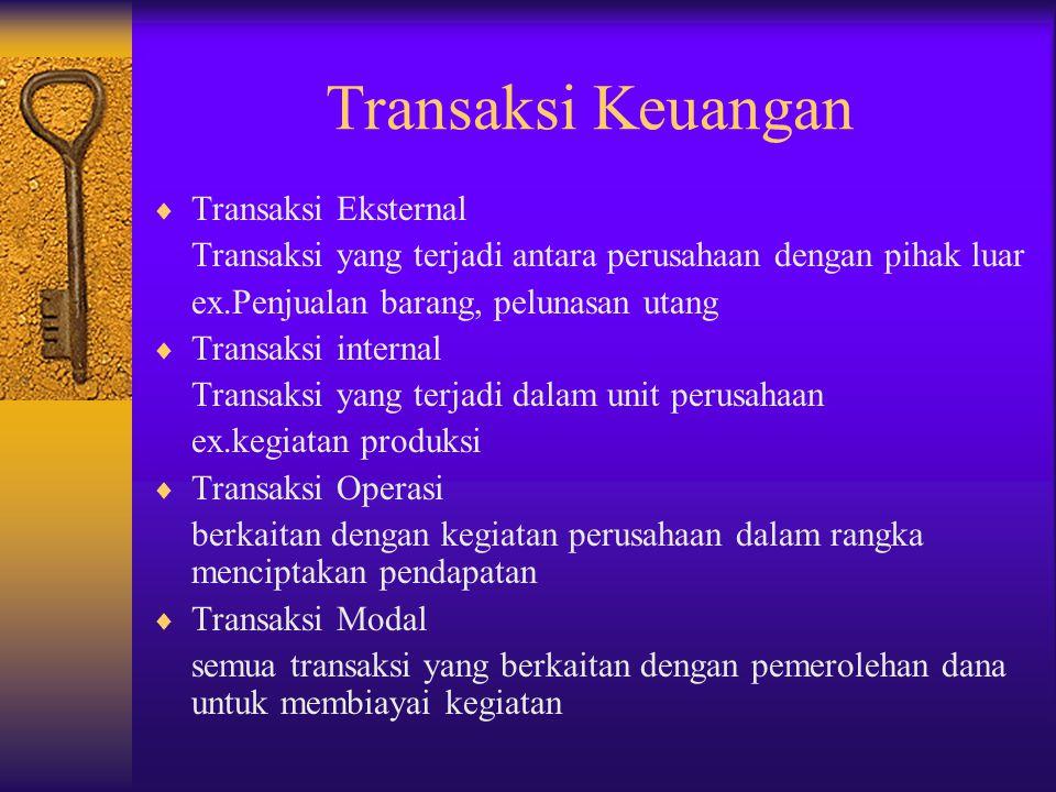 Transaksi Keuangan Transaksi Eksternal