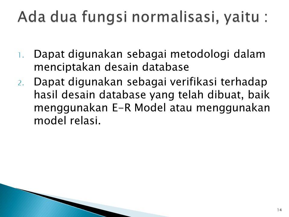 Ada dua fungsi normalisasi, yaitu :