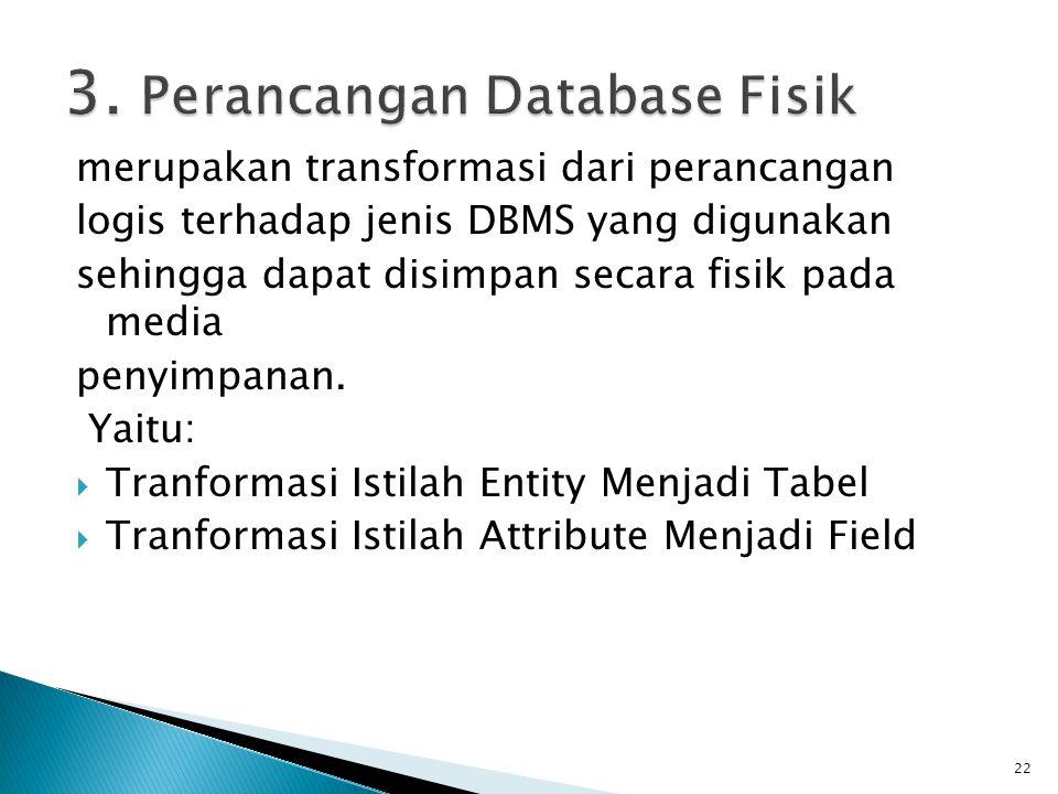 3. Perancangan Database Fisik