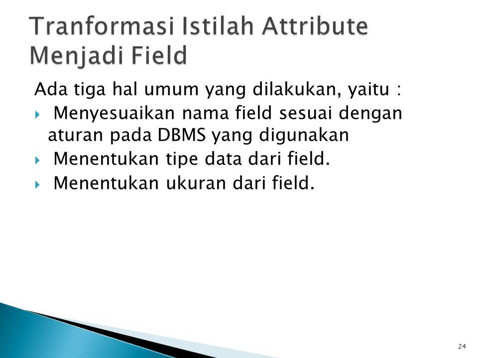 Tranformasi Istilah Attribute Menjadi Field