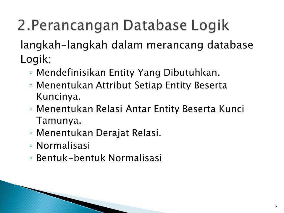 2.Perancangan Database Logik