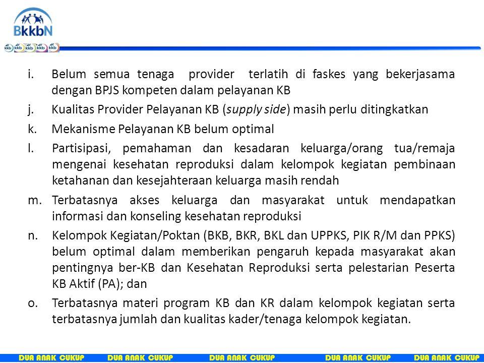 Belum semua tenaga provider terlatih di faskes yang bekerjasama dengan BPJS kompeten dalam pelayanan KB