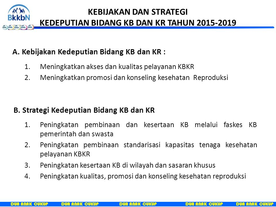 KEBIJAKAN DAN STRATEGI KEDEPUTIAN BIDANG KB DAN KR TAHUN 2015-2019