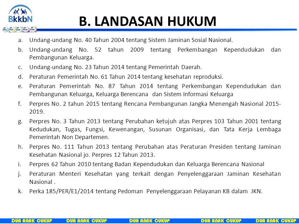 B. LANDASAN HUKUM Undang-undang No. 40 Tahun 2004 tentang Sistem Jaminan Sosial Nasional.