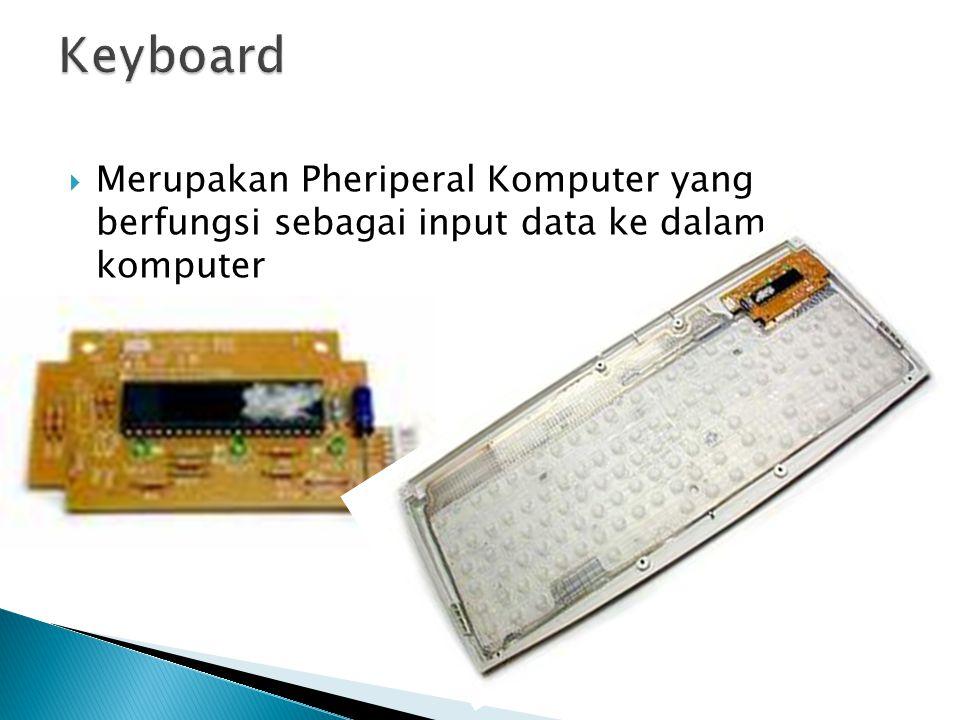 Keyboard Merupakan Pheriperal Komputer yang berfungsi sebagai input data ke dalam komputer