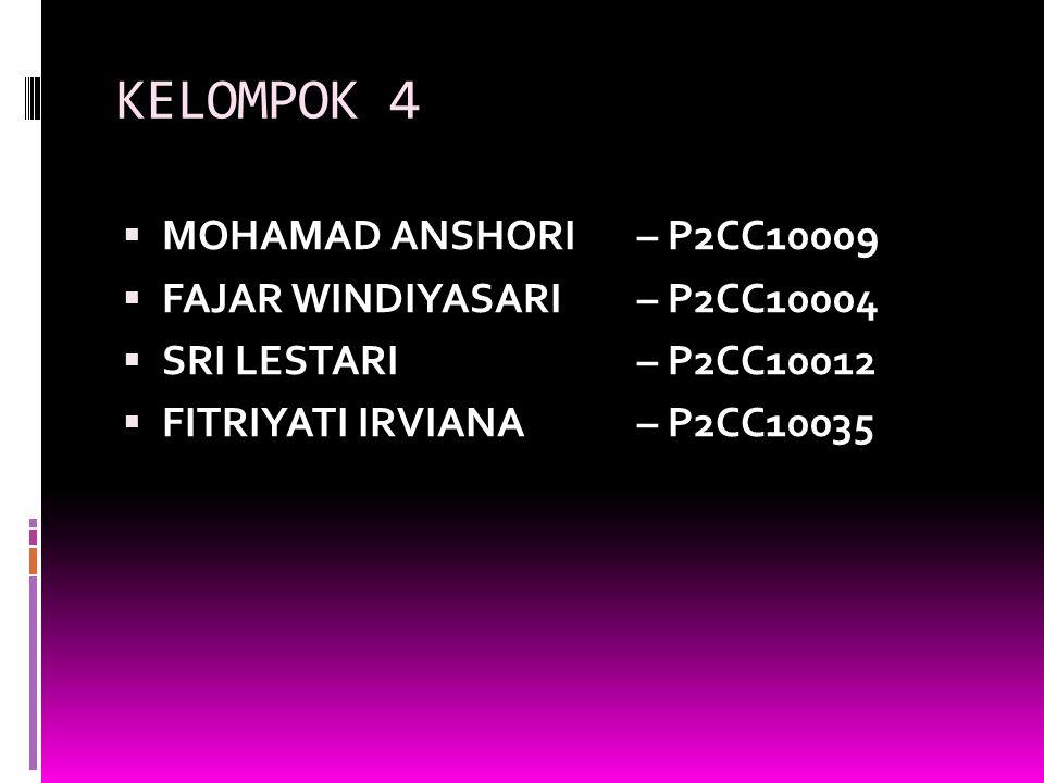 KELOMPOK 4 MOHAMAD ANSHORI – P2CC10009 FAJAR WINDIYASARI – P2CC10004