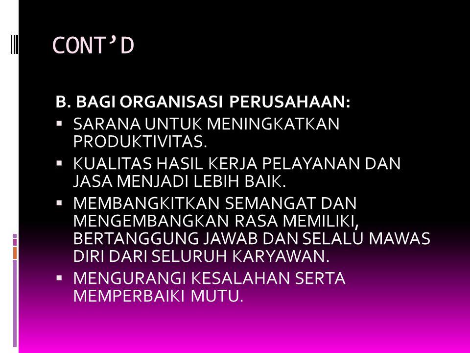 CONT'D B. BAGI ORGANISASI PERUSAHAAN: