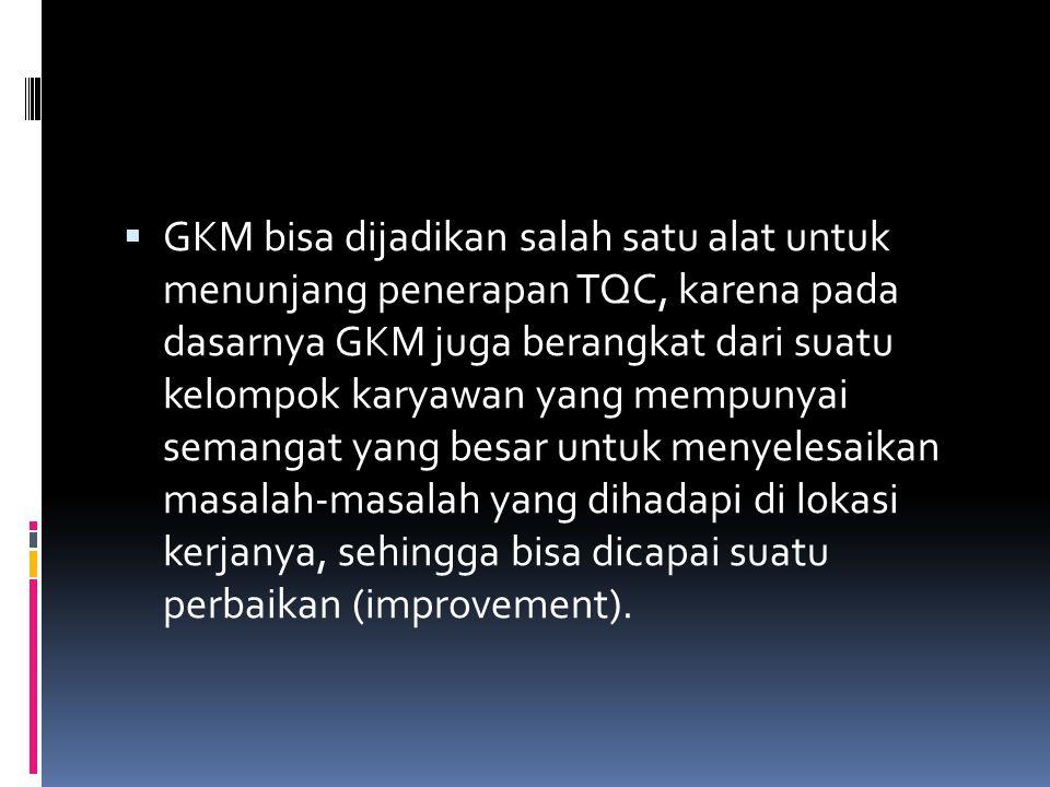 GKM bisa dijadikan salah satu alat untuk menunjang penerapan TQC, karena pada dasarnya GKM juga berangkat dari suatu kelompok karyawan yang mempunyai semangat yang besar untuk menyelesaikan masalah-masalah yang dihadapi di lokasi kerjanya, sehingga bisa dicapai suatu perbaikan (improvement).