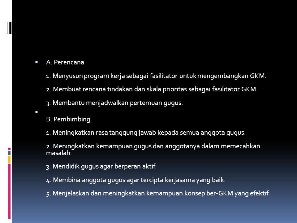 A. Perencana 1. Menyusun program kerja sebagai fasilitator untuk mengembangkan GKM. 2. Membuat rencana tindakan dan skala prioritas sebagai fasilitator GKM. 3. Membantu menjadwalkan pertemuan gugus.