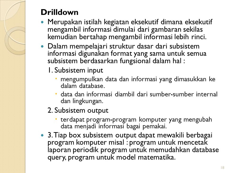 Drilldown 2. Subsistem output