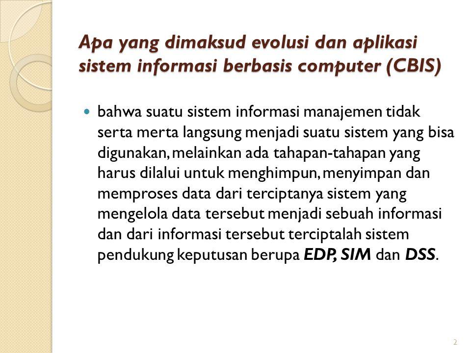 Apa yang dimaksud evolusi dan aplikasi sistem informasi berbasis computer (CBIS)