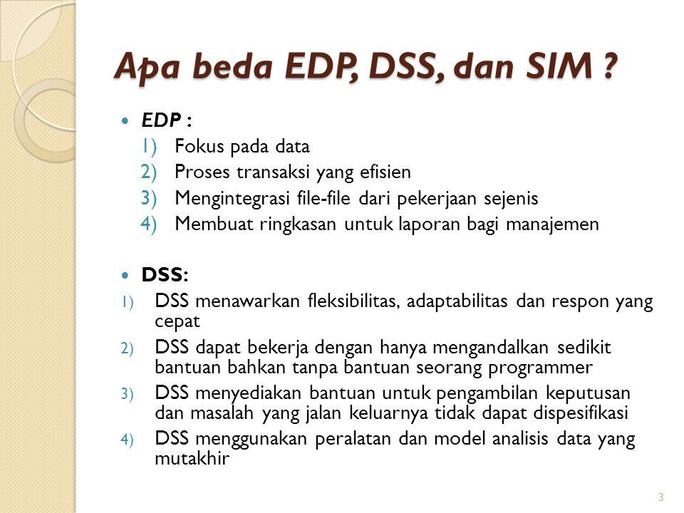 Apa beda EDP, DSS, dan SIM EDP : Fokus pada data
