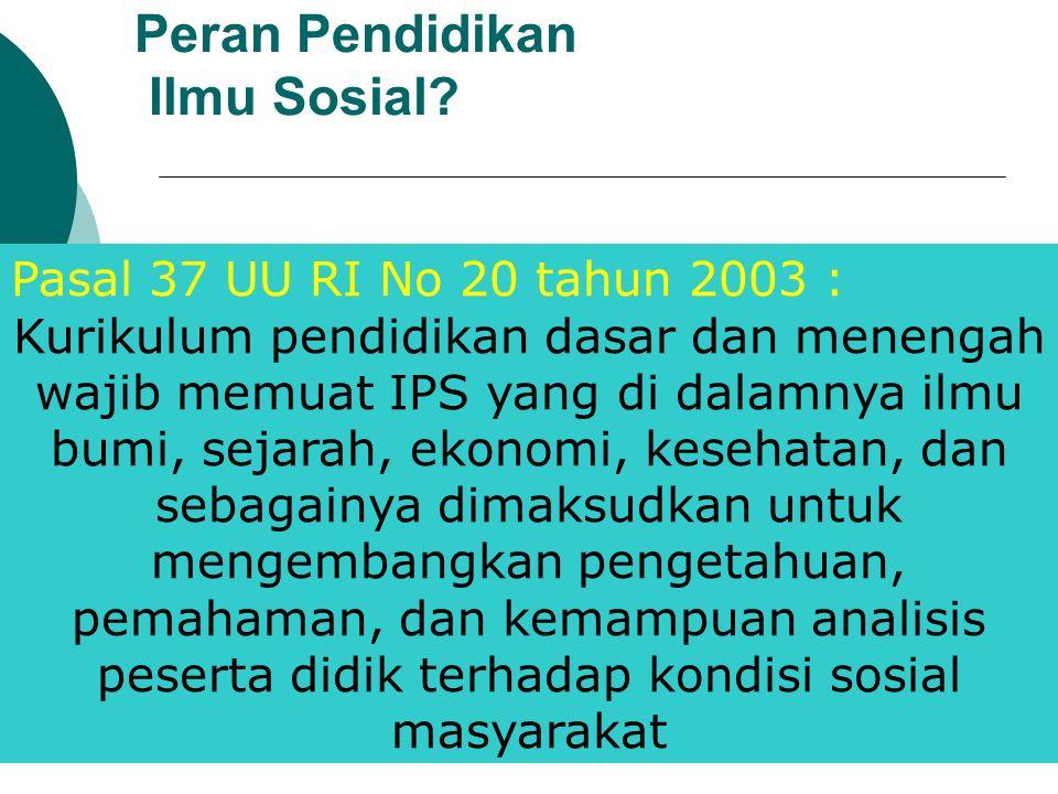 Peran Pendidikan Ilmu Sosial