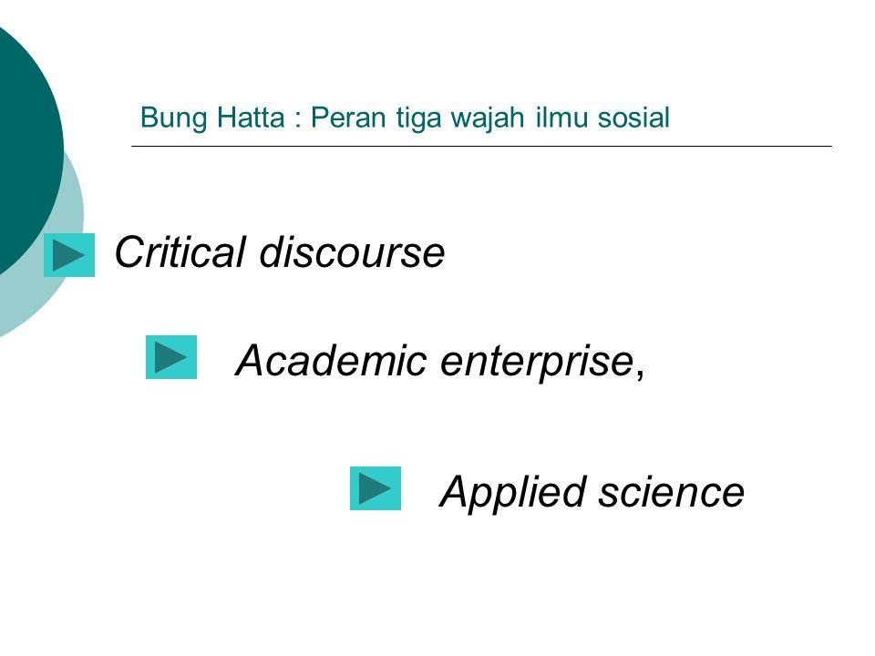 Bung Hatta : Peran tiga wajah ilmu sosial