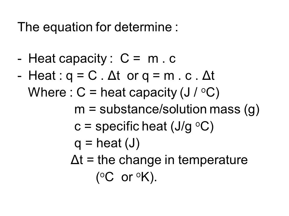 The equation for determine :
