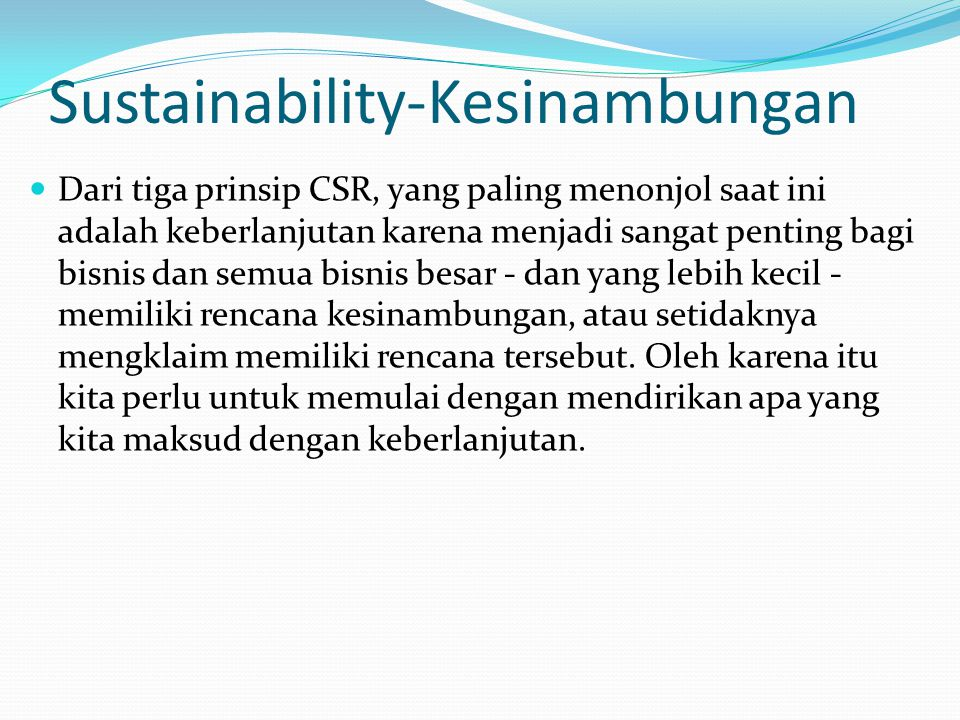Sustainability-Kesinambungan