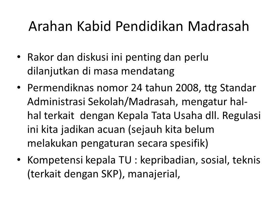 Arahan Kabid Pendidikan Madrasah