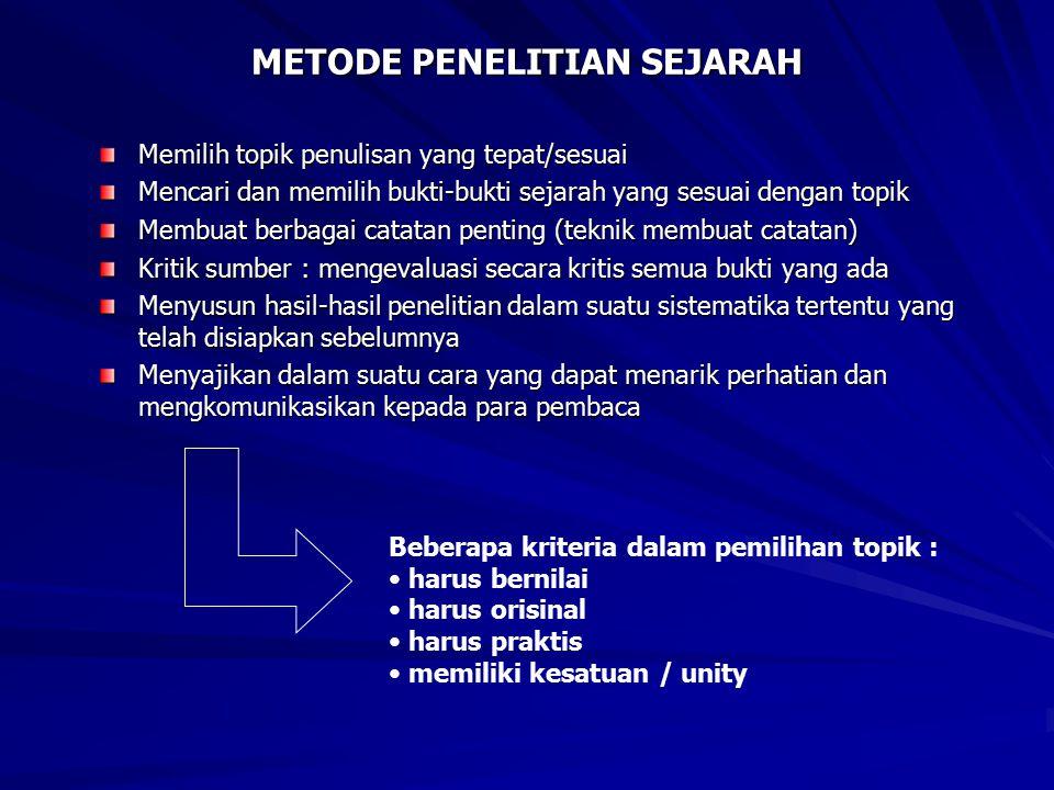 METODE PENELITIAN SEJARAH