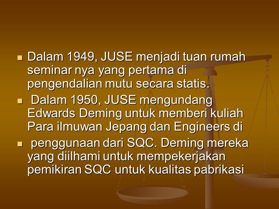 Dalam 1949, JUSE menjadi tuan rumah seminar nya yang pertama di pengendalian mutu secara statis.