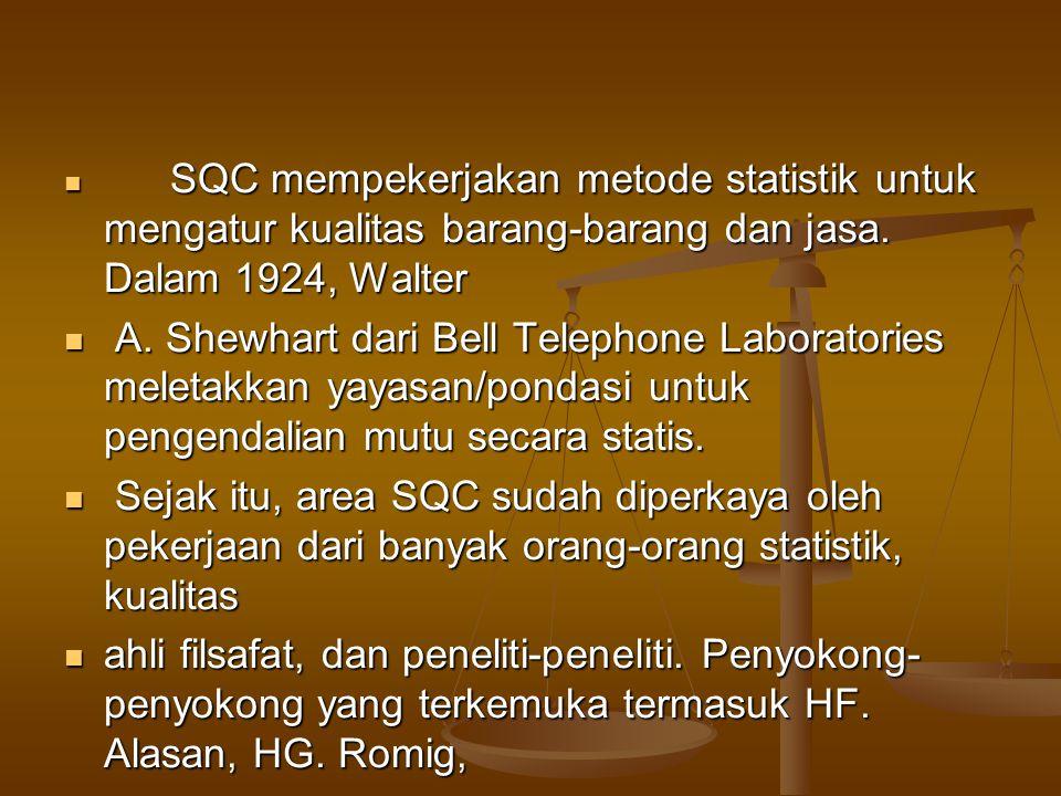 SQC mempekerjakan metode statistik untuk mengatur kualitas barang-barang dan jasa. Dalam 1924, Walter