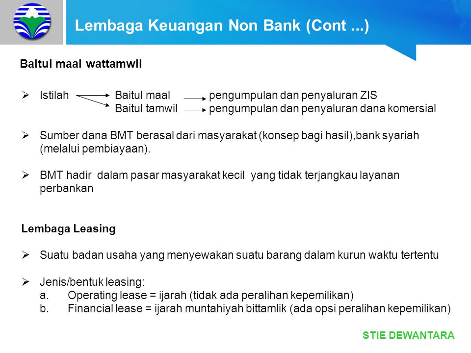 Lembaga Keuangan Non Bank (Cont ...)