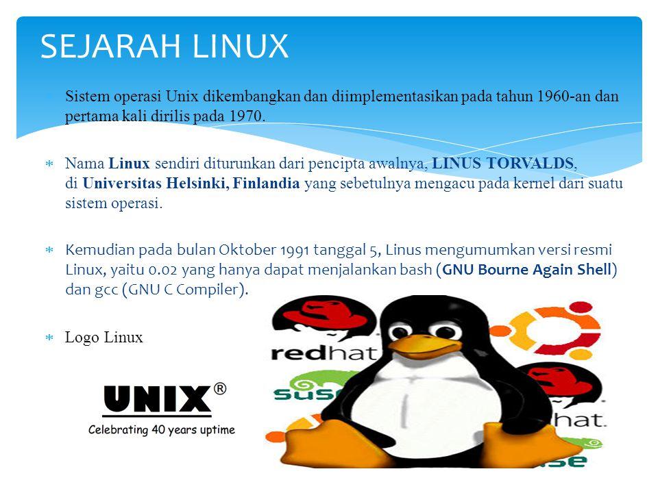 SEJARAH LINUX Sistem operasi Unix dikembangkan dan diimplementasikan pada tahun 1960-an dan pertama kali dirilis pada 1970.