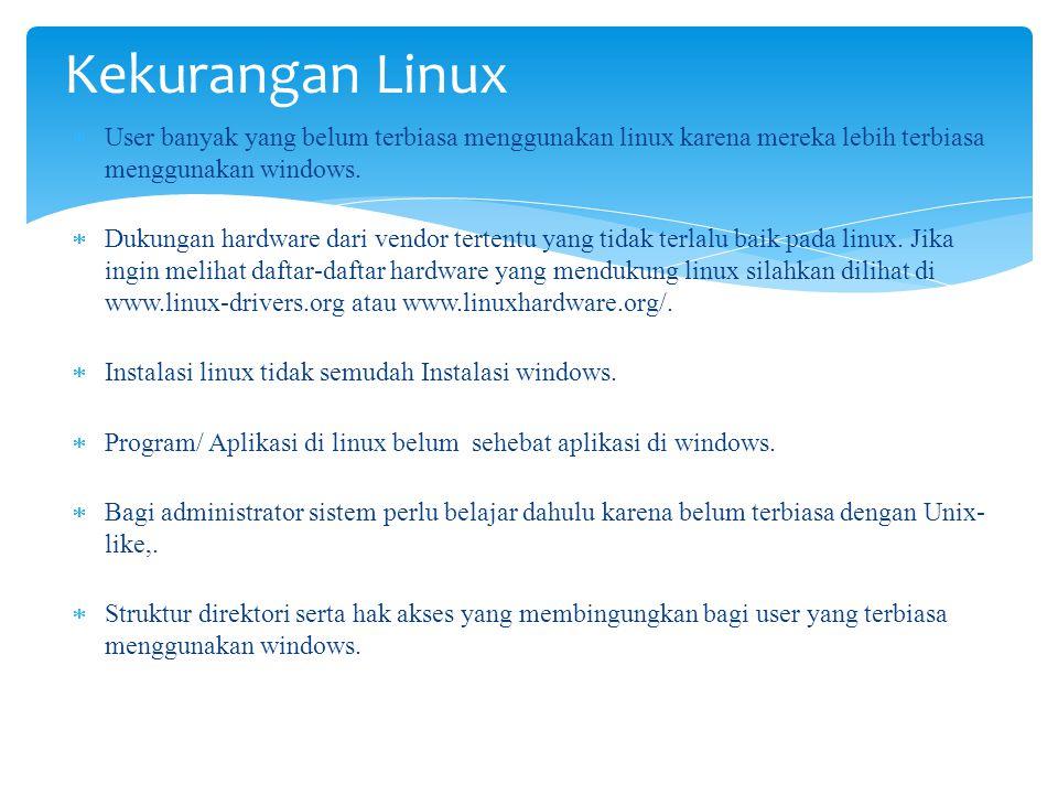 Kekurangan Linux User banyak yang belum terbiasa menggunakan linux karena mereka lebih terbiasa menggunakan windows.