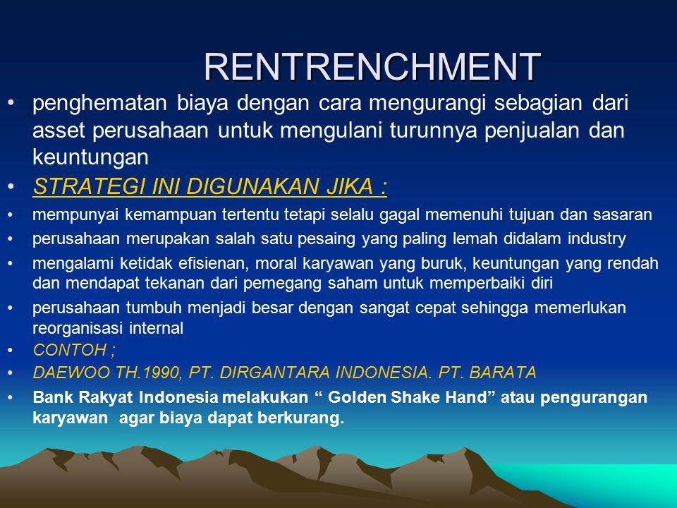 RENTRENCHMENT penghematan biaya dengan cara mengurangi sebagian dari asset perusahaan untuk mengulani turunnya penjualan dan keuntungan.