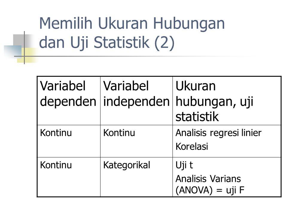 Memilih Ukuran Hubungan dan Uji Statistik (2)