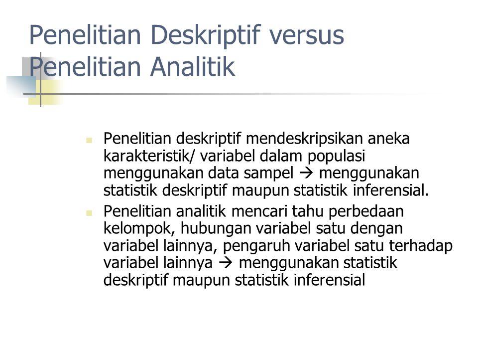 Penelitian Deskriptif versus Penelitian Analitik