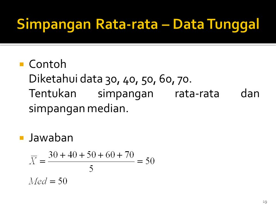 Simpangan Rata-rata – Data Tunggal