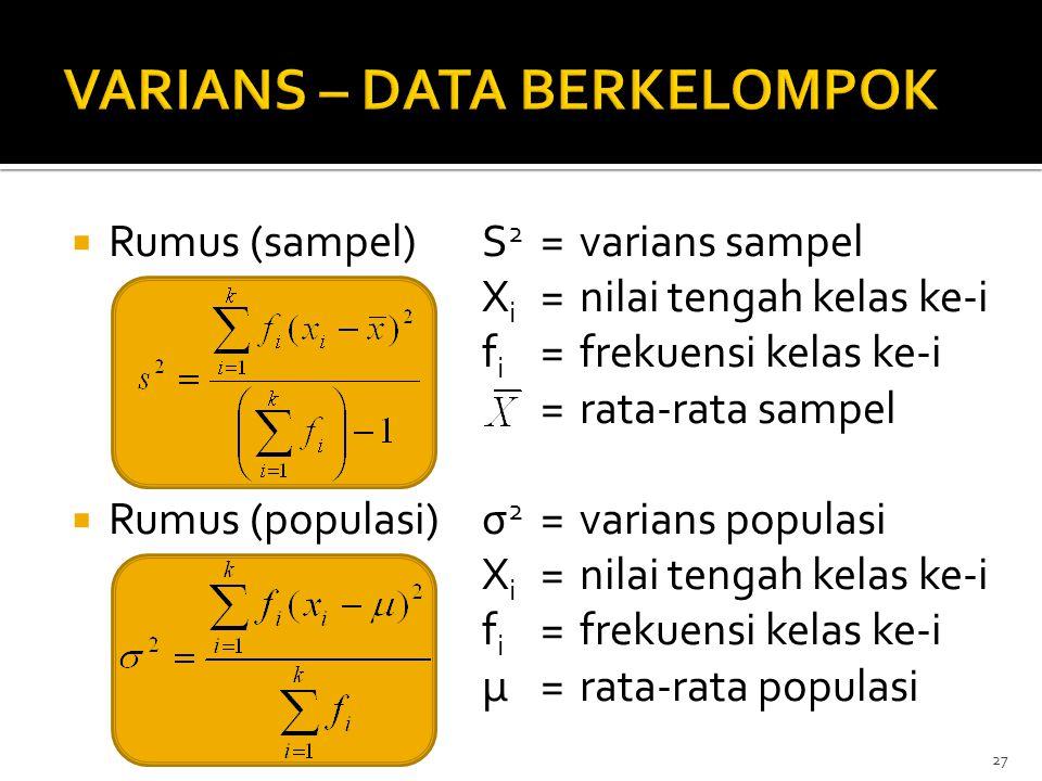 VARIANS – DATA BERKELOMPOK