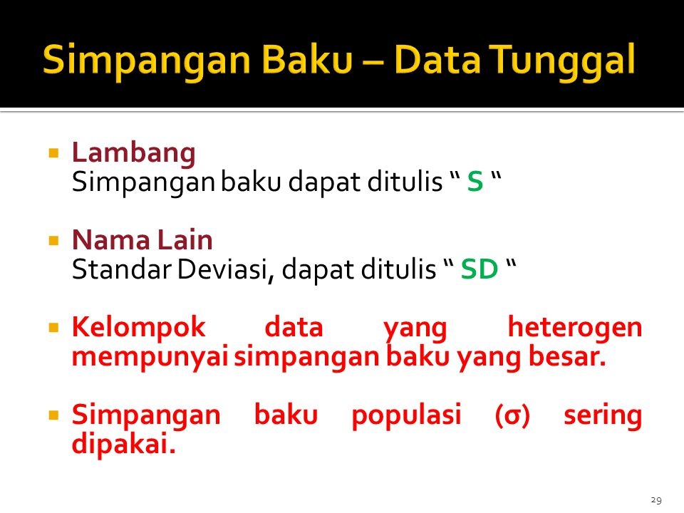 Simpangan Baku – Data Tunggal