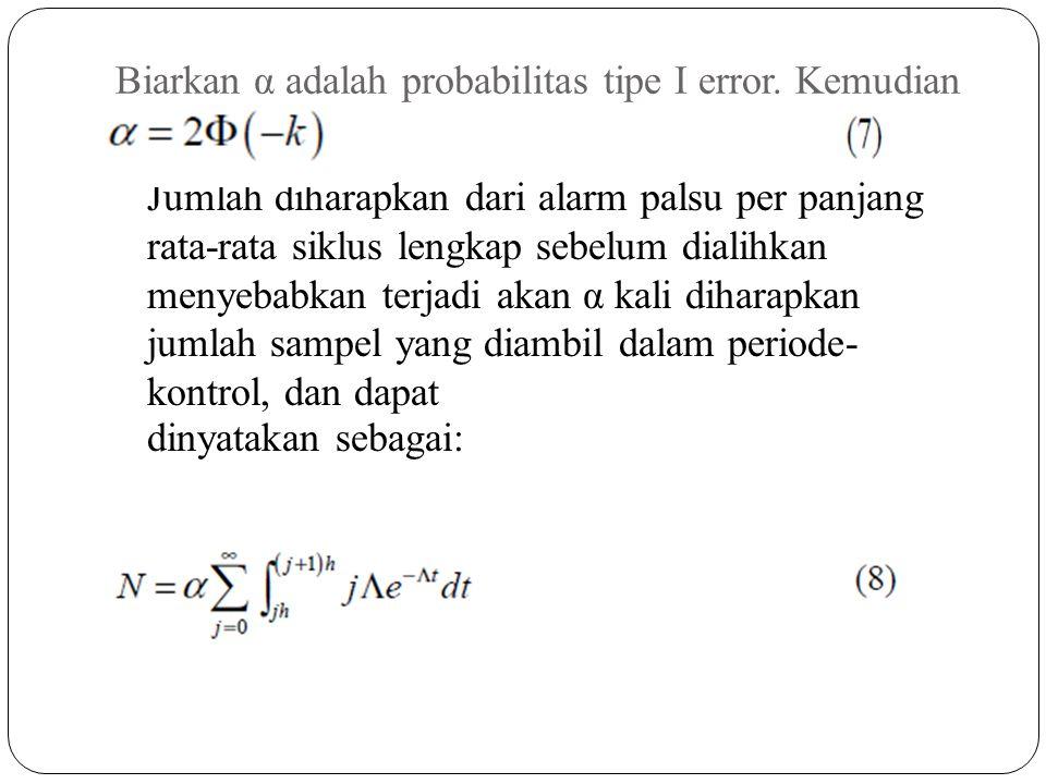 Biarkan α adalah probabilitas tipe I error. Kemudian