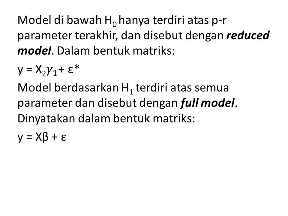 Model di bawah H0 hanya terdiri atas p-r parameter terakhir, dan disebut dengan reduced model.