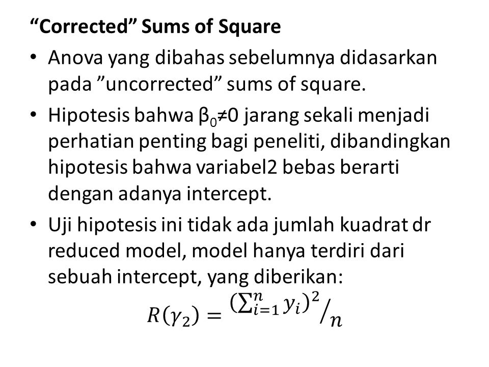 Corrected Sums of Square