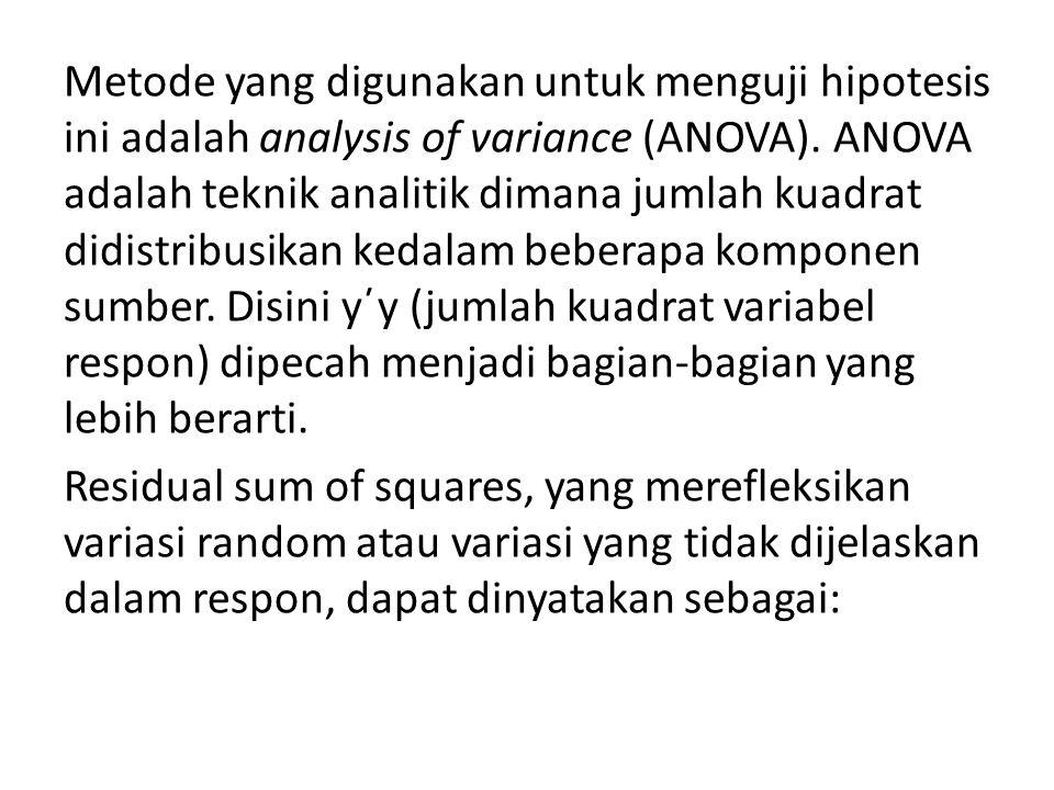 Metode yang digunakan untuk menguji hipotesis ini adalah analysis of variance (ANOVA).