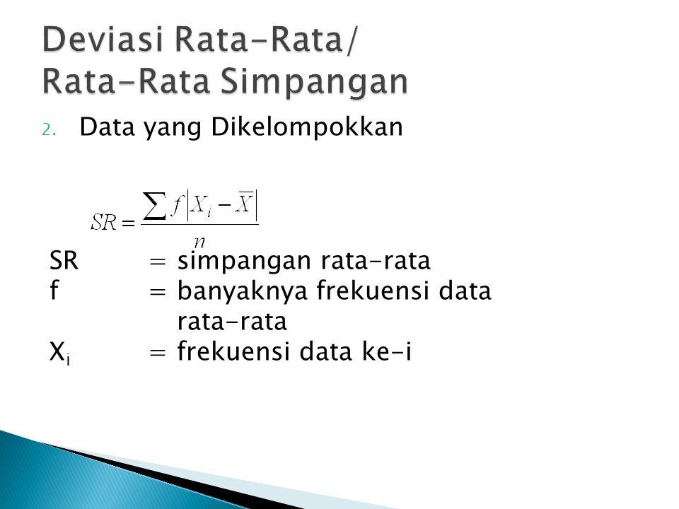 Deviasi Rata-Rata/ Rata-Rata Simpangan