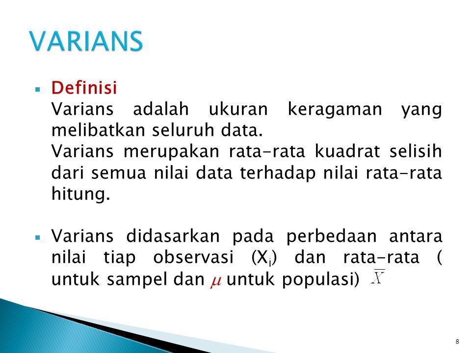 VARIANS Definisi. Varians adalah ukuran keragaman yang melibatkan seluruh data.