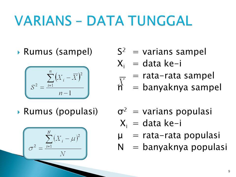 VARIANS – DATA TUNGGAL Rumus (sampel) S2 = varians sampel