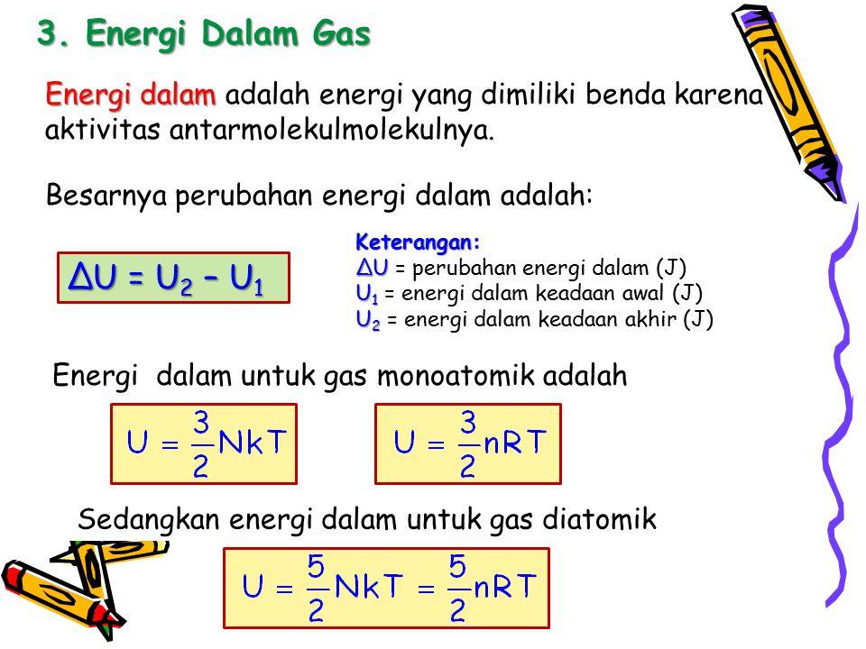 3. Energi Dalam Gas ∆U = U2 – U1