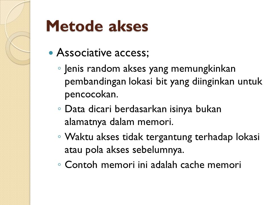 Metode akses Associative access;