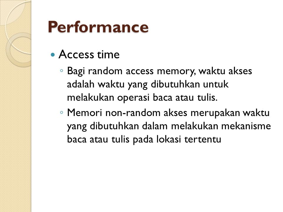 Performance Access time
