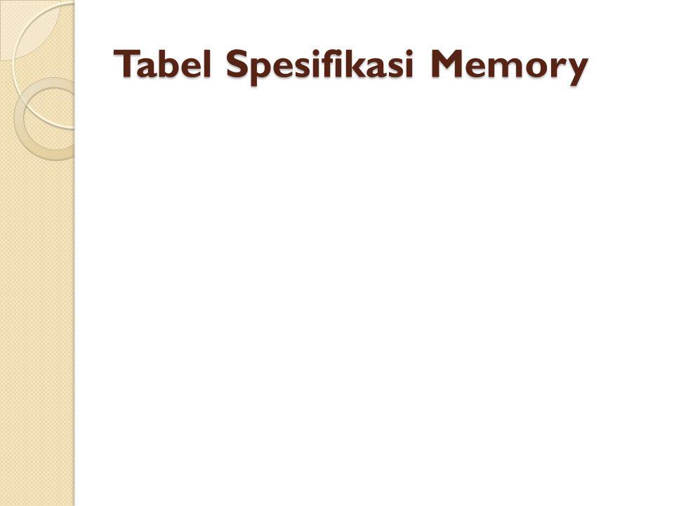 Tabel Spesifikasi Memory